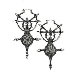Silver coloured nordic Vegvisir earrings.